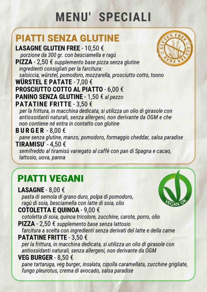menu senza glutine vegano